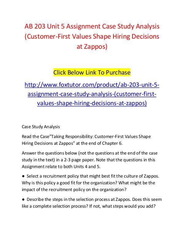 AB 203 Unit 5 Assignment Case Study Analysis (Customer-First Values S AB 203 Unit 5 Assignment Case Study Analysis (Cust
