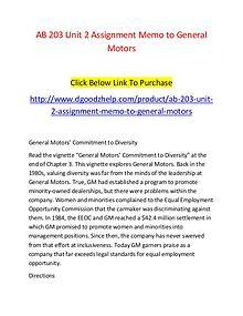 AB 203 Unit 2 Assignment Memo to General Motors-Dgoodzhelp.com