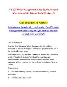 AB 203 Unit 4 Assignment Case Study Analysis (Can Yahoo Still Attract