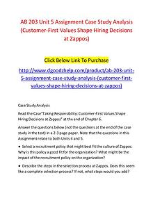 AB 203 Unit 5 Assignment Case Study Analysis (Customer-First Values S
