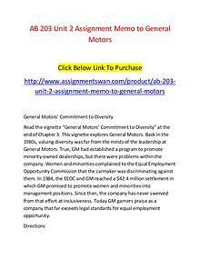 AB 203 Unit 2 Assignment Memo to General Motors-Assignmentswan.com
