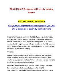 AB 203 Unit 9 Assignment Diversity training Memo-Assignmentswan.com