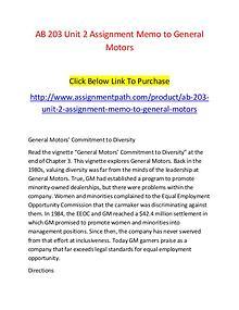 AB 203 Unit 2 Assignment Memo to General Motors-Assignmentpath.com