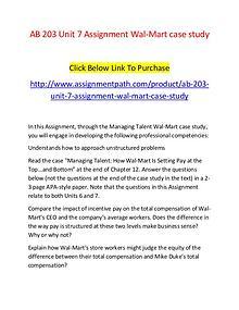 AB 203 Unit 7 Assignment Wal-Mart case study-Assignmentpath.com