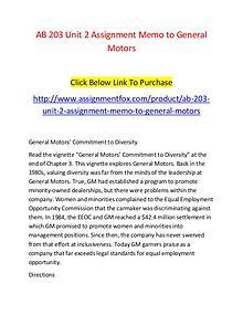 AB 203 Unit 2 Assignment Memo to General Motors-Assignmentfox.com
