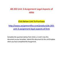 AB 203 Unit 3 Assignment Legal Aspects of HRM-Assignmentfox.com