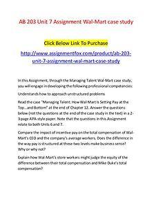 AB 203 Unit 7 Assignment Wal-Mart case study-Assignmentfox.com