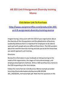 AB 203 Unit 9 Assignment Diversity training Memo-Assignmentfox.com