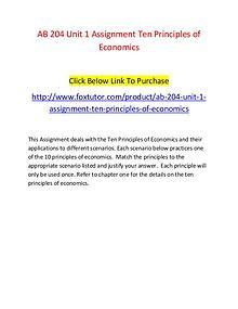 AB 204 Unit 1 Assignment Ten Principles of Economics