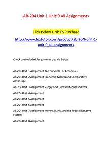 AB 204 Unit 1 Unit 9 All Assignments