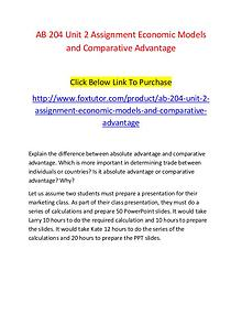 AB 204 Unit 2 Assignment Economic Models and Comparative Advantage