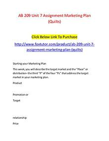 AB 209 Unit 7 Assignment Marketing Plan (Quilts)