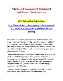 AB 209 Unit 2 Assignment Recruitment (Adolescent Obesity Center)