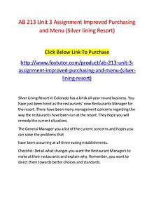 AB 213 Unit 3 Assignment Improved Purchasing and Menu (Silver lining