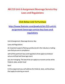 AB 213 Unit 6 Assignment Beverage Service Key Laws and Regulations