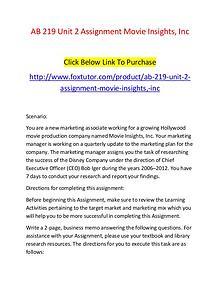 AB 219 Unit 2 Assignment Movie Insights, Inc