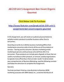 AB 219 Unit 5 Assignment Bon Vivant Organic Gourmet