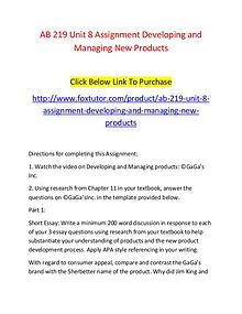 AB 219 Unit 8 Assignment Developing and Managing New Products