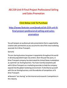 AB 219 Unit 9 Final Project Professional Selling and Sales Promotion