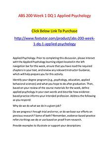ABS 200 Week 1 DQ 1 Applied Psychology