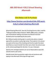 ABS 200 Week 4 DQ 2 School Shooting Aftermath
