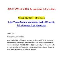 ABS 415 Week 5 DQ 2 Recognizing Culture Gaps