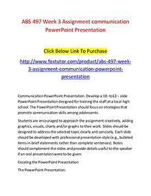 ABS 497 Week 3 Assignment communication PowerPoint Presentation