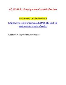 AC 113 Unit 10 Assignment Course Reflection