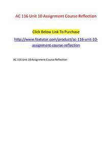 AC 116 Unit 10 Assignment Course Reflection