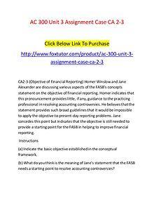 AC 300 Unit 3 Assignment Case CA 2-3