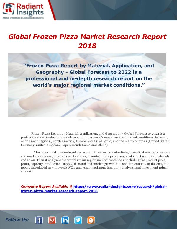 Market Forecasts and Industry Analysis Global Frozen Pizza Market Research Report 2018