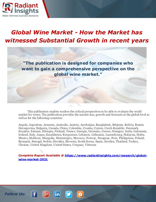 Market Forecasts and Industry Analysis Global Wine Market - How the Market has witnessed