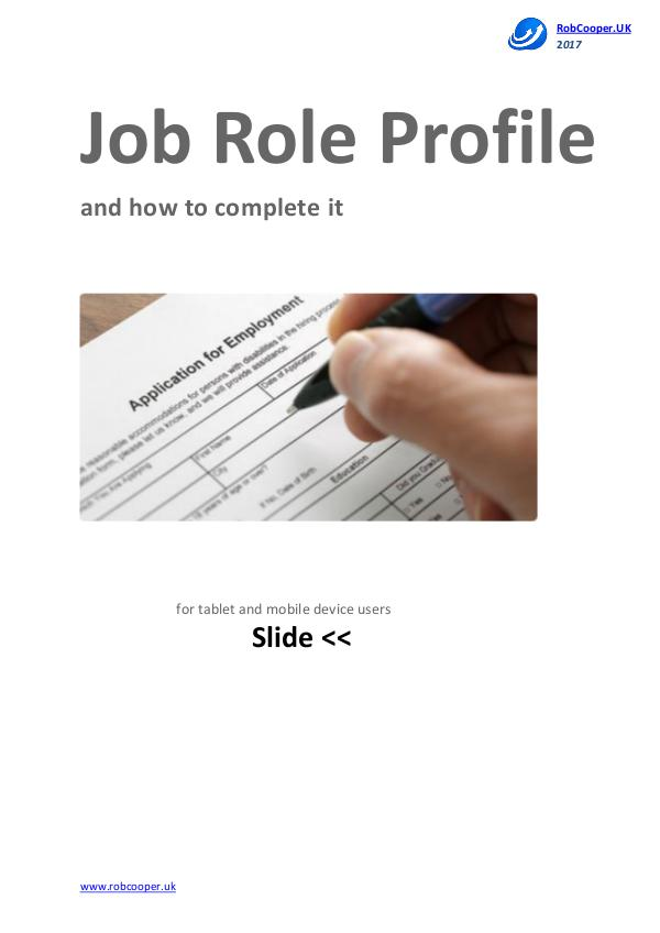 Job Role Profile and how to complete it