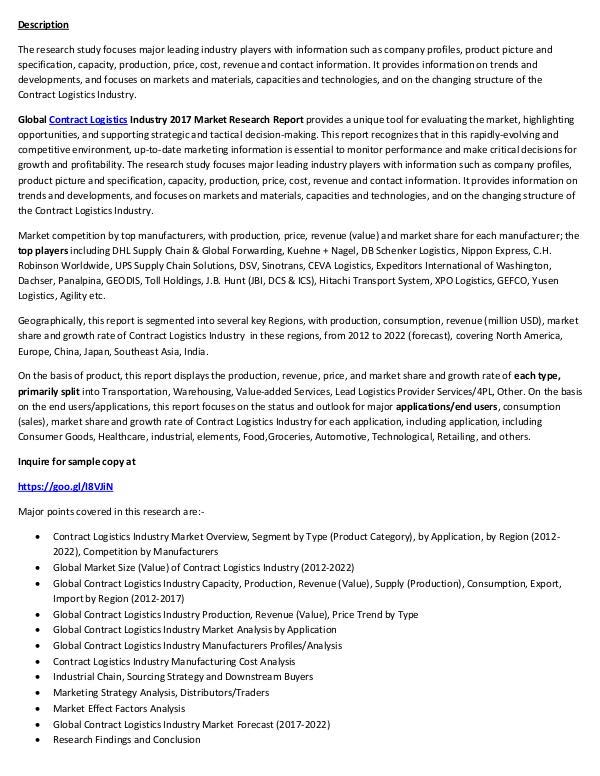 Contract Logistics Market Report 2017