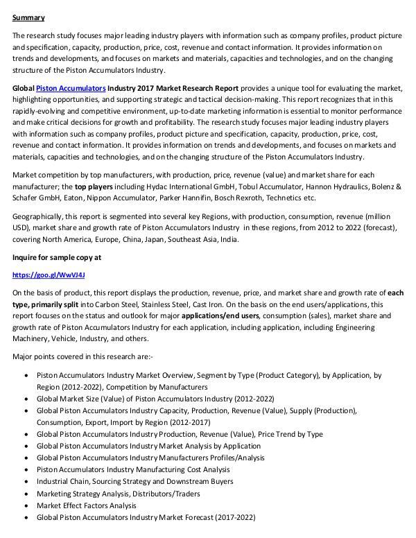 Piston Accumulators Market Research Report 2017