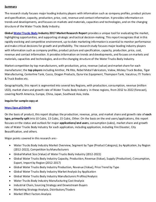 Water Trucks Body Market Analysis 2017