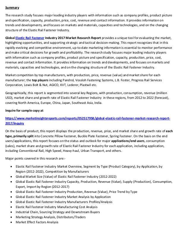 Elastic Rail Fastener Market Study 2017