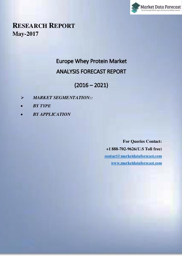 Current Trends in  Europe Frozen Bakery Products Market  Market 2016- Current Trends Europe Whey Protein Market Growth