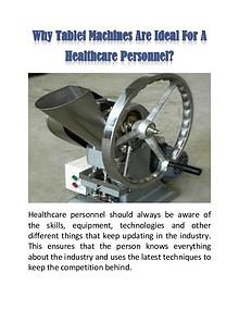 Why Tablet Machines Are Ideal For A Healthcare Personnel?
