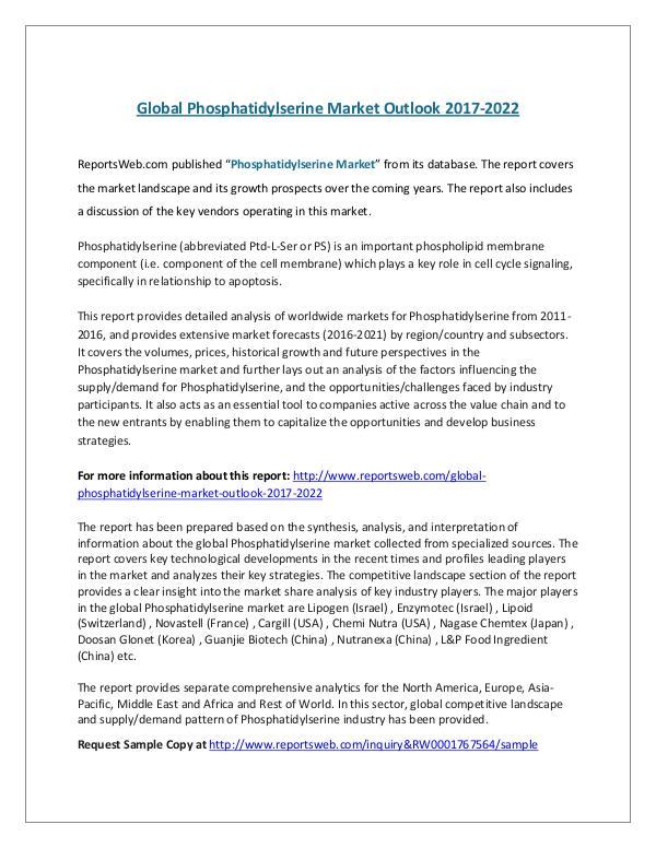 BRIC Hernia Repair Devices Market Outlook to 2023 Global Phosphatidylserine Market Outlook 2017
