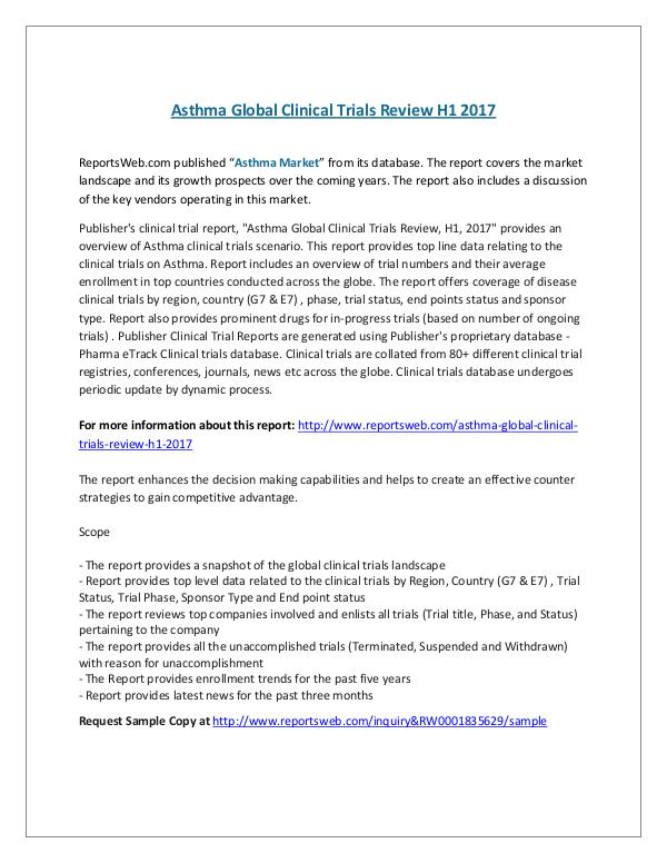 ReportsWeb- Asthma Global Clinical Trials Review H1 2017