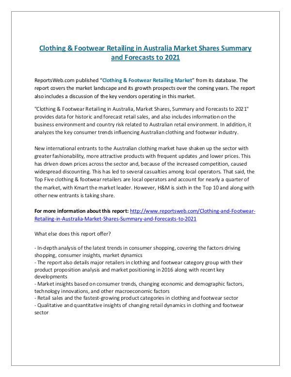 ReportsWeb- Clothing & Footwear Retailing in Australia Market