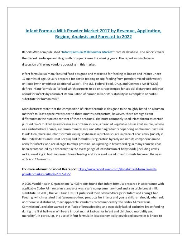 Global Infant Formula Milk Powder Market Outlook 2
