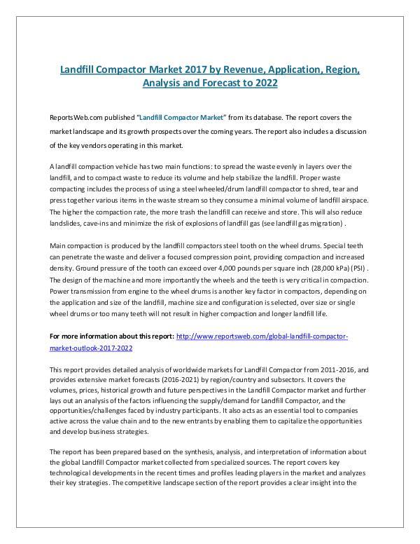 Landfill Compactor Market 2017 by Revenue, Applica