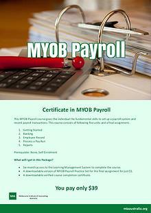Certificate in MYOB Payroll