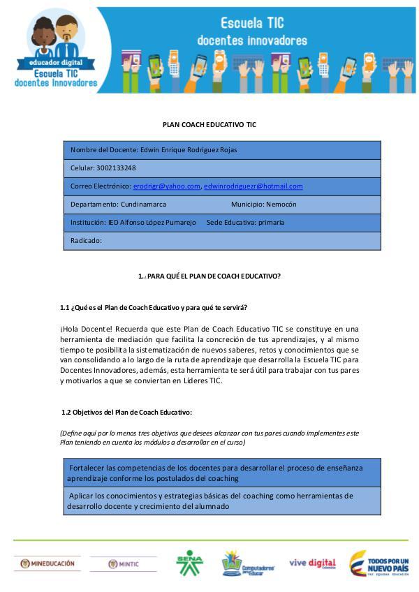 COACH EDUCATIVO TIC Plan Coach Educativo TIC_Edwin Rodríguez