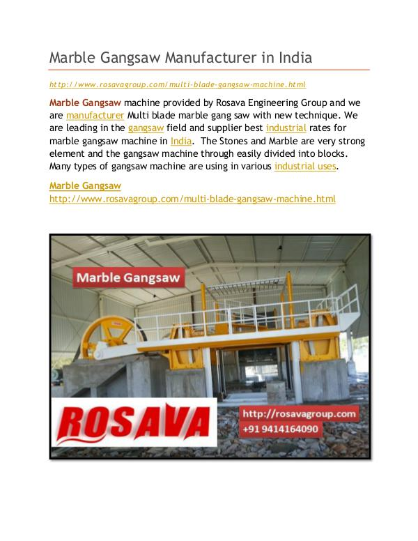 Marble Gangsaw Marble Gangsaw Manufacturer in India