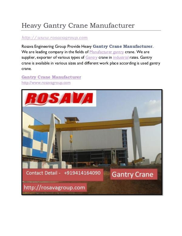 Heavy Gantry Crane Manufacturer