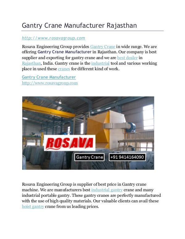 Gantry Crane Manufacturer Rajasthan