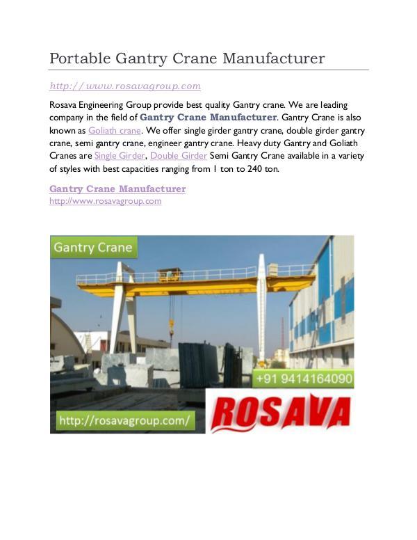 Gantry Crane Supplier Portable Gantry Crane Manufacturer